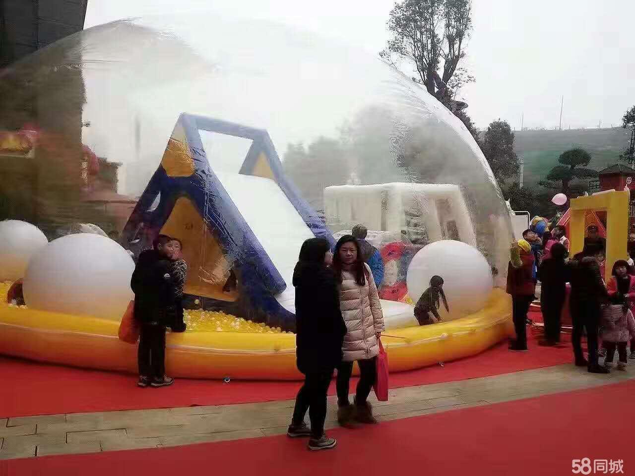 儿童充气水晶宫海洋球池游乐园